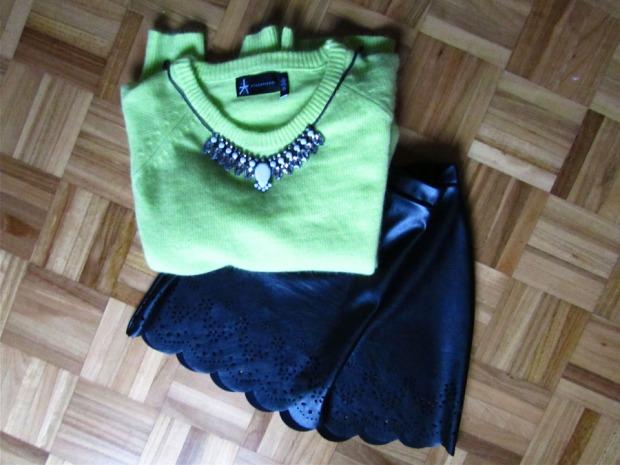 Neon jumper & statement necklace
