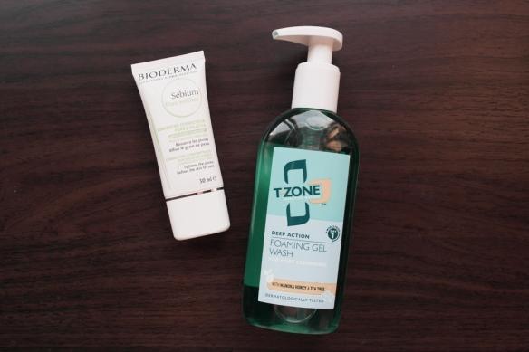 bioderma, sebium pore refiner, t zone washing gel, face cleansing, morning torine, oily skin, pore refiner, tea tree,