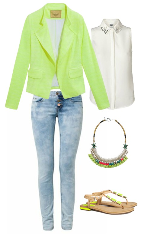 business casual outfit neon