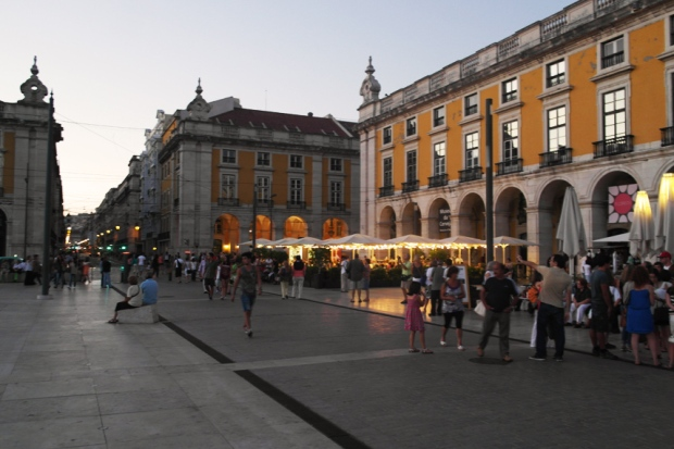 Lisbon sunset, cafe,