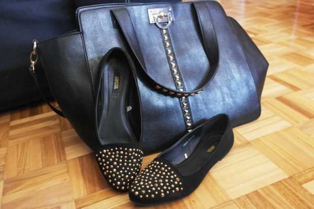 outfit, job interview, business casual, black leather handbag, parfois, style and expect, primark flats, gold studs, black flats, sophisticated