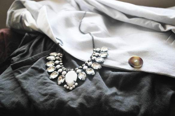 outfit, job interview, business casual, jewelry, rhinestone necklace, statement, style and expect, sophisticated