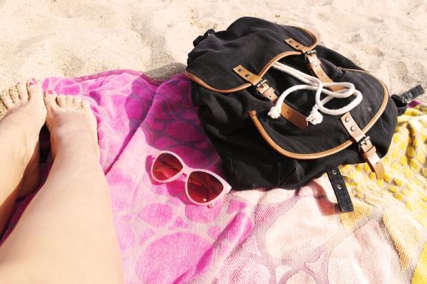beach bag, tag, summer, black backpack,