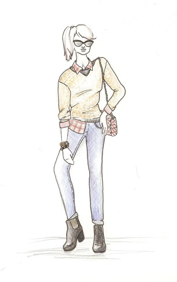 grunge, chic, fall 2013, trendy, lookbook, fashion, illustration, drawing, fashion illustration