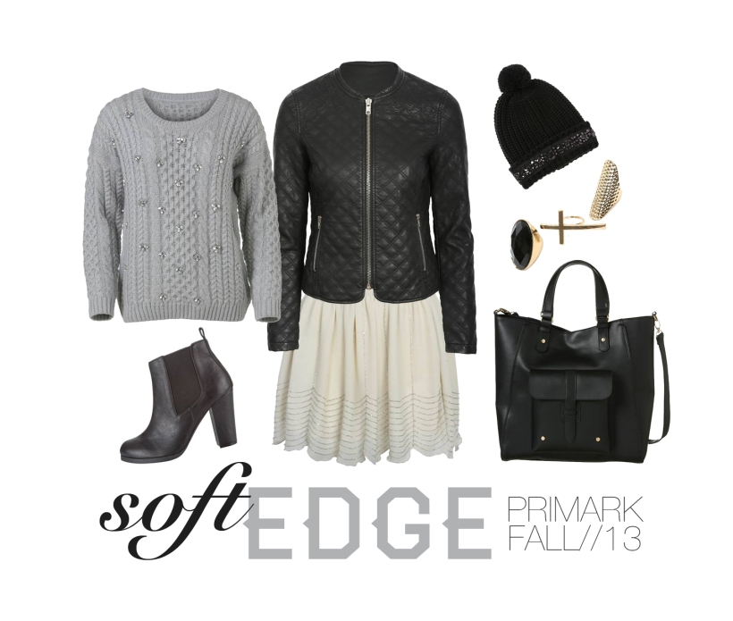 primark, outfit set, fall winter 2013, trends, feminine outfit, black leather jacket