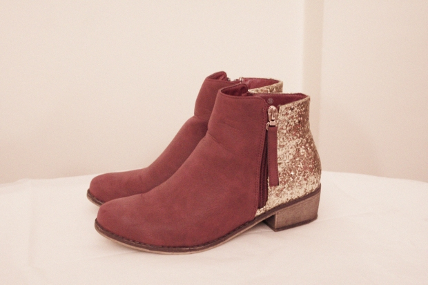 new booties, glitter boots, burgundy boots, fall 2013