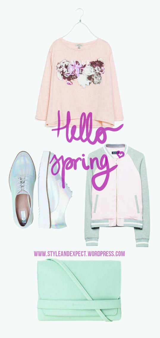 hello spring, march, 2014, trend, wishlist, pastel colors, holographic oxfords, holographic trend, bomber jacket, mint green, light pink, rose