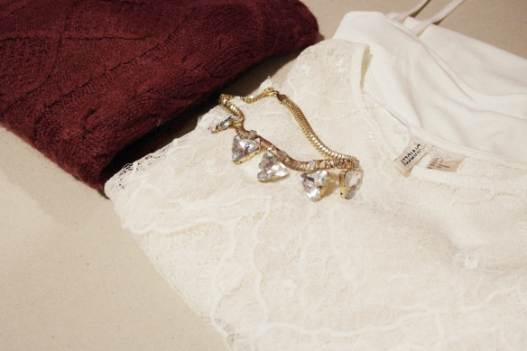style and expect, outfit, blogger style, burgundy sweater, white lace, lace dress, lingerie trend