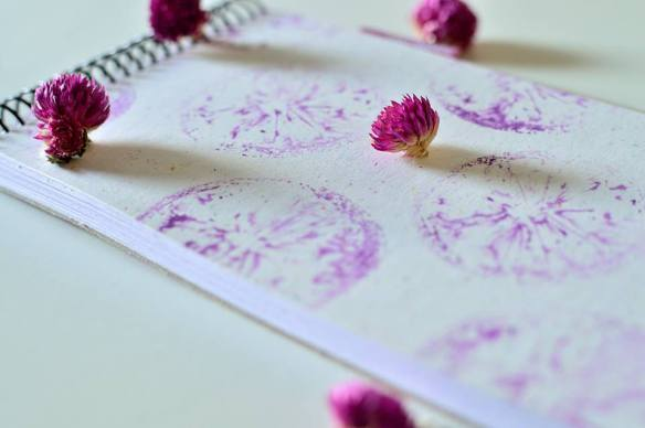 my little notebook, flowers, purple, pink, lemon print, diy, notebook, easy lemon print