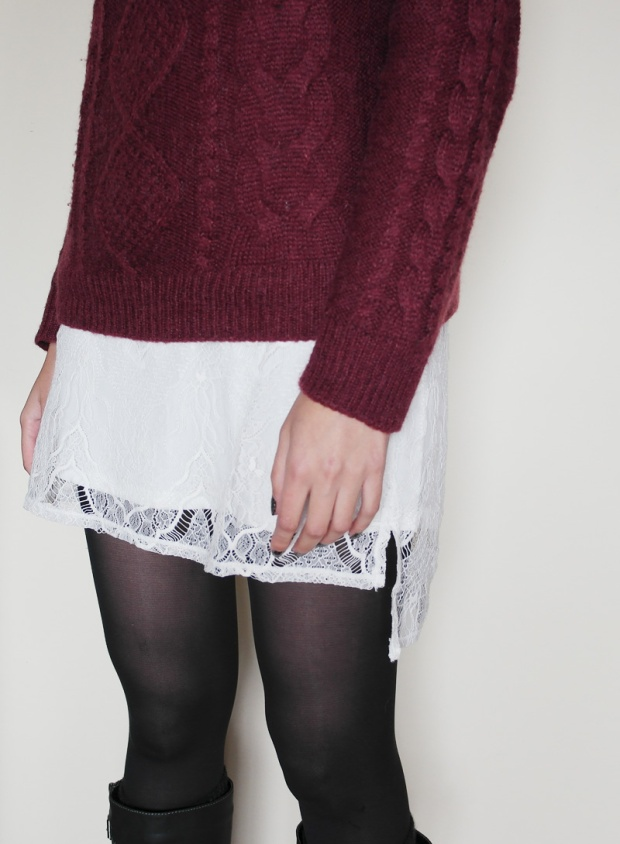 burgundy knit, sweater weather, lace dress, white lace, lingerie dress, statement necklace