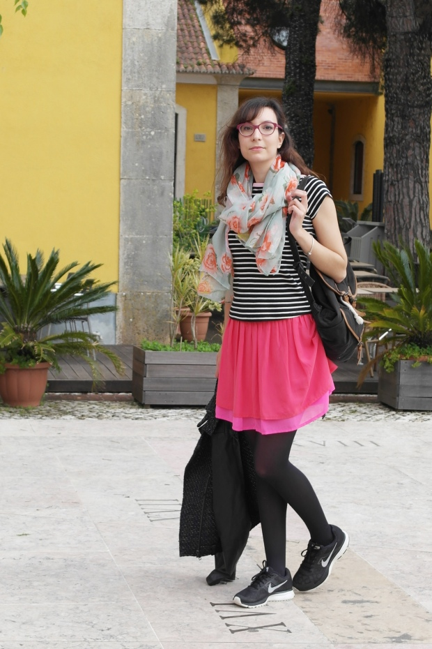 style and expect, flowers, stripes, spring 2014, outfit, neon pink, neon skirt, flower print