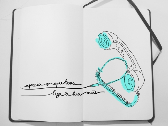 telephone, illustration, dia da mãe, neon blue