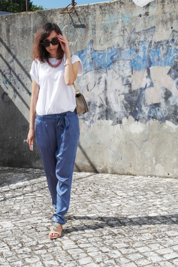 plain white t-shirt, blue satin pants,  hm, comfortable outfit, style and expect